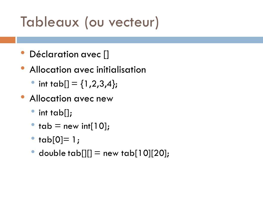 Tableaux (ou vecteur) Déclaration avec []